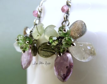Sterling Silver Wire Wrapped Flower Earrings Amethyst Labradorite Green Amethyst Prehnite Green Parrot Quartz Rutilated Quartz Tourmaline.