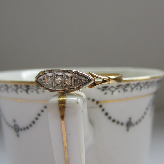 Late Victorian Wedding Ring. Yellow Gold and Platinum Five Stone Band. Addy on Etsy.