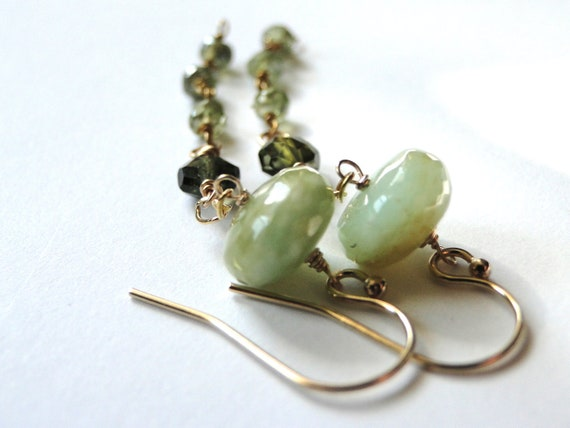 AUTUMN SALE - Jewelry Earrings, Gemstones, Opal, Tourmaline, Smokey Zircon 14k Gold, Accessories