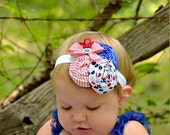 red, white, blue, nautical, flower headband for babies, girls, photo props, photography, wedding LB2
