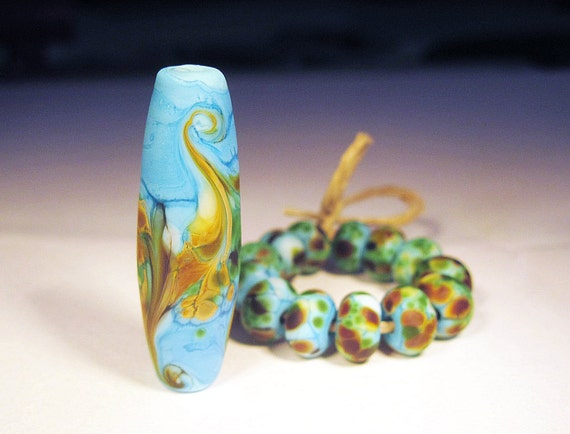 FREE SHIPPING Etched Turquoise Savannah Focal and 13 Spacer Set