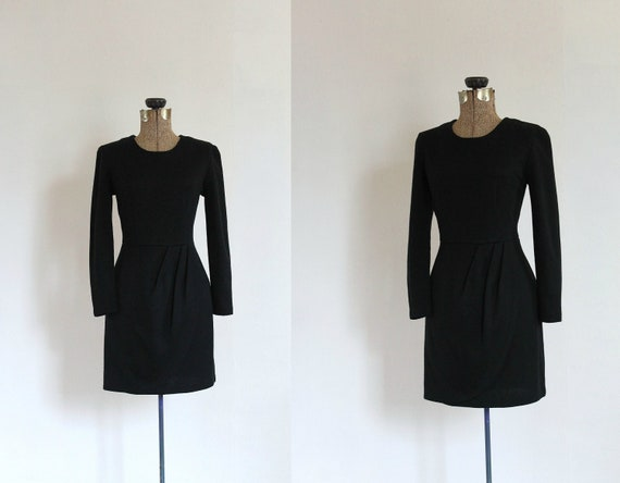 black mini dress vintage 1960s style black long sleeve fitted mini wiggle dress