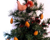 Primitive Partridge and Pears Christmas Ornaments