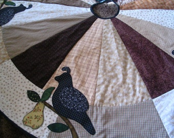 Partridge in a Pear Tree Quilted Appliqued Christmas Tree Skirt