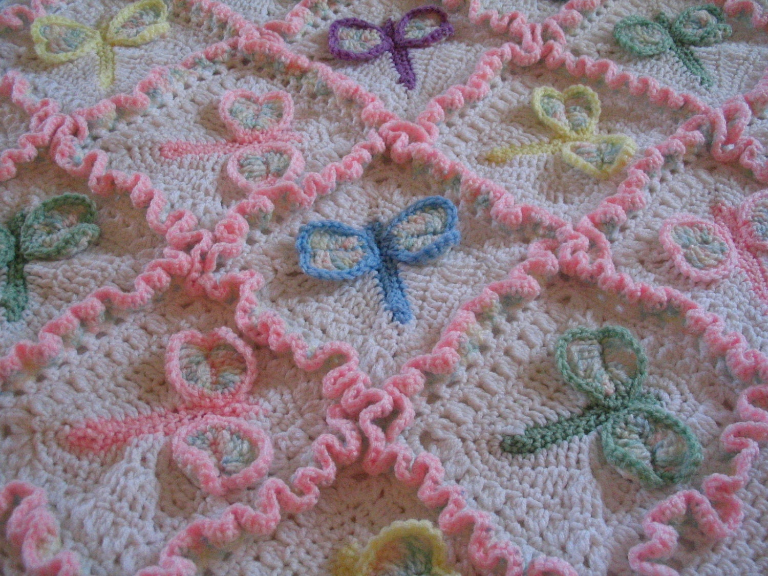 Crochet Dragonfly Baby Blanket Pattern : Dragonfly Dreams Crocheted Baby Afghan