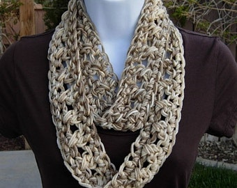 SUMMER INFINITY SCARF, Cream Taupe Beige Multicolor, Soft Lightweight Narrow Crochet Necklace, Small Skinny Cowl, Ready to Ship in 2 Days