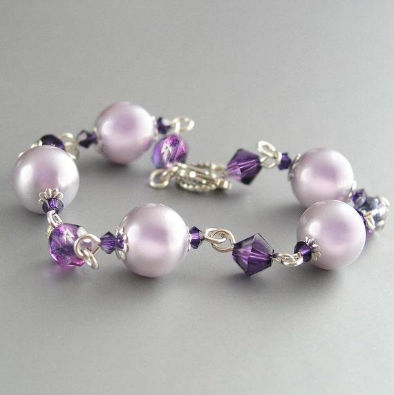Lavender Pearl Bracelet Sterling Silver Swarovski Amethyst Crystal Bracelet Plum Grape Violet Mauve Lilac Bracelet