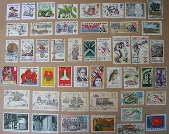 47 Vintage Postage Stamps Matte Finish (not glossy) 1970s - 90s STAMP SPECIAL: Any 3 sets for 12 Dollars