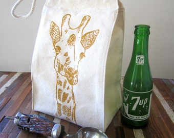 Reusable Lunch Bag - Screen Printed Recycled Cotton Lunch Box - Eco Friendly Lunch Sack - Giraffe - Canvas Tote - Lunch Tote - Snack Bag