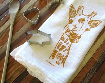 Tea Towel - Screen Printed Flour Sack Towel - Eco Friendly Cotton - Dish Towel - Giraffe - Absorbent Kitchen Towel - Classic Flour Sack