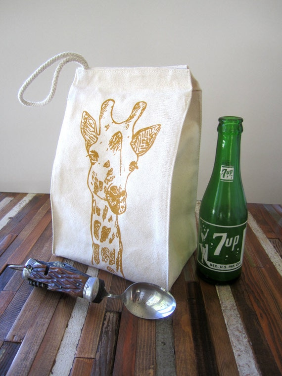 Screen Printed Recycled Cotton Lunch Bag - Reusable and Washable - Eco Friendly and Fun - Giraffe Illustration - Lunch Box