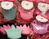 Set of 10 Tiara Crown Soap Party Favor Baby Shower Princess Birthday Bridal Shower Custom Party Favors Includes Customized Tags