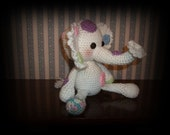 Dainty Polka-Dot Elephant, Crocheted, Amigurumi, Stuffed Animal  Save 10% on your first order.  See details below.