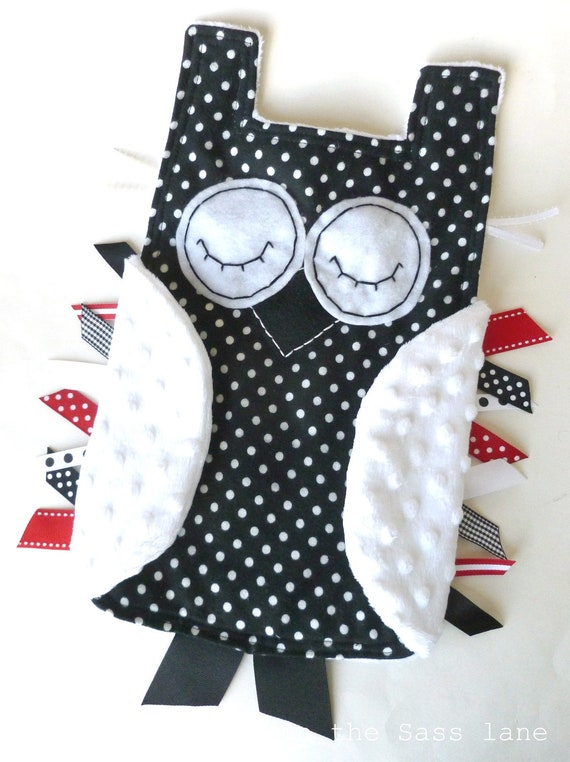Polka Dot OWL Ribbon Tag Blanket in Flannel and Minky Black, White and Red Blankie Lovey Lovie Baby Gift