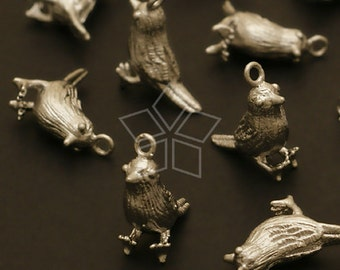 PD-493-MS / 2 Pcs - Chubby Sparrow Charms, Matte Silver Plated over Brass / 13mm x 13mm