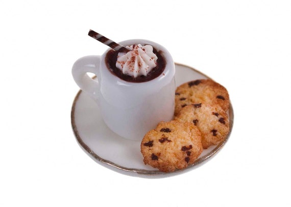 hot chocolate with cookies miniature food by amanspeak on Etsy