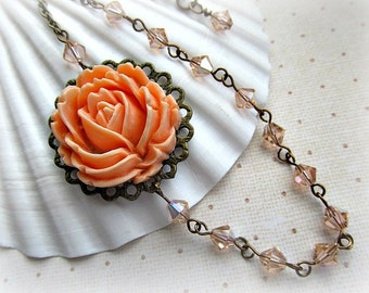 Peach rose and Peach Swarvoski crystal asymmetrical necklace