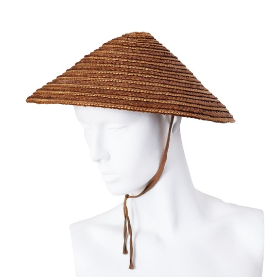 Vintage 1930s Straw Saucer Coolie Hat With By
