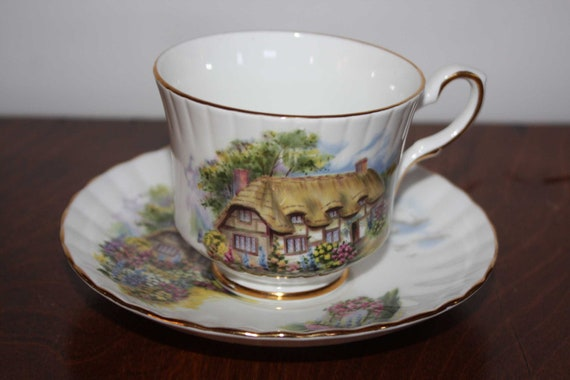 Vintage CUP and SAUCER - Cottage scene - English bone china - sweet