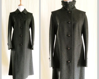 Vintage Dark Olive Green Pure Wool Long Coat Sz 8 made in Austria