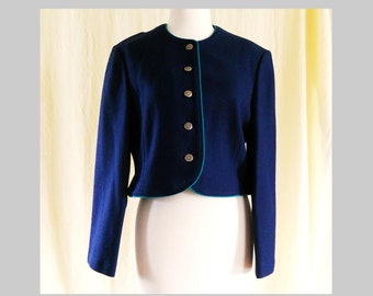 Vintage Dark Cobalt Blue Wool Cropped Jacket Cardigan Sz 6