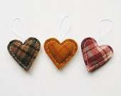 Hearts Plaid Decor - Handmade Holiday Ornaments - Set of 3 - Wool Hearts - Mountain Cozy Country Rustic