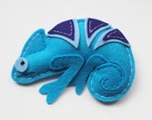 ON SALE - Mischievous Veiled Chameleon in Turquoise - Cute Reptile Stuffed Animal - Renewable Wool Felt Plush