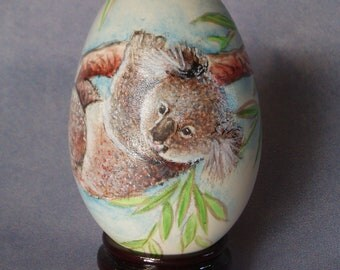 Adorable Koala On The Tree, Hand Painted On Goose Egg Shell, Hand Painted Egg