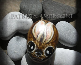Bunny   Handpainted  rock painting painted stone miniature painted rock
