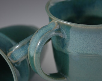 One 10 oz Turquoise Blue Stoneware Coffee Mug