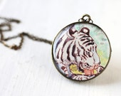 White Tiger Art Pendant Necklace Vintage Art Round Pendant, Albino Tiger Stripes Safari Feline Wild Life Animal