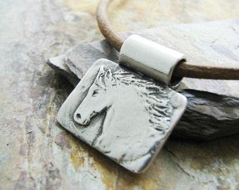 Artisan Handmade Silver Pendant, Fine Silver Horse Pendant, Rustic Style