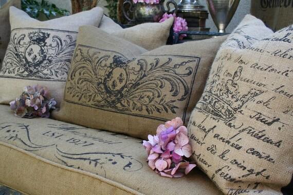 Burlap Pillow Fleur de lis
