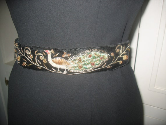 hand made vintage peacock  embroidery  belt