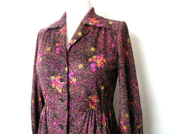 SALE Vintage Floral Jersey Shirt Dress - Size: S/M