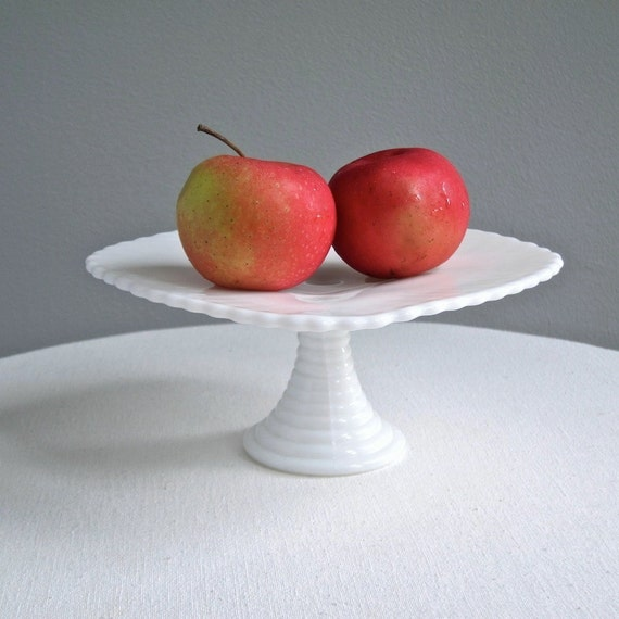 Small Milk Glass Cake Stand - Footed Plate by Indiana Glass Co