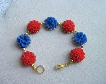 Red and Blue Flower bracelet