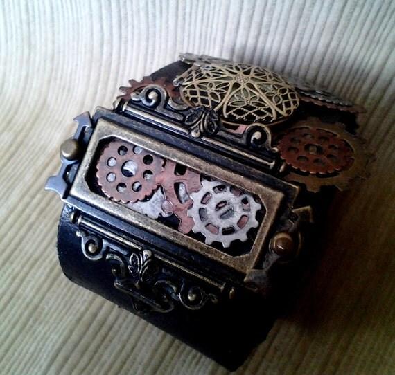 Chief Engineer's Ceremonial Cuff, steampunk leather cuff with GLOW in the DARK locket