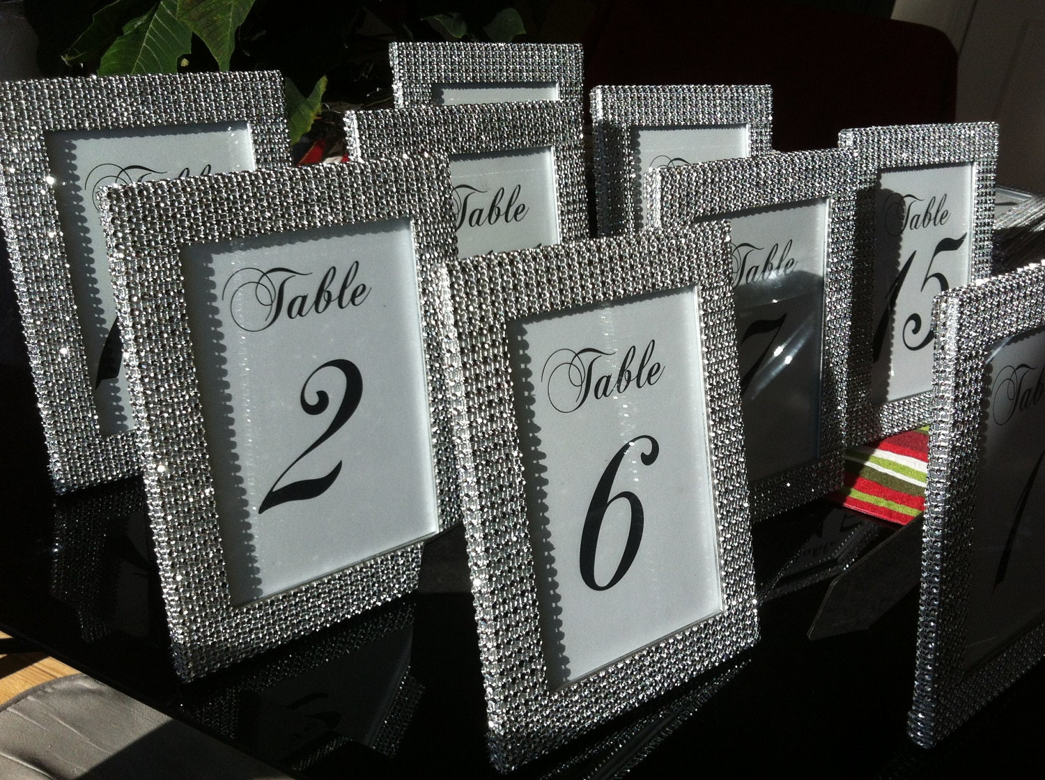 Set Of 11 5 X 7 Frames In Silver Rhinestone And Table
