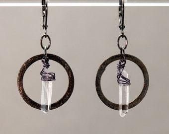 SLEEK FUSION: Clear Quartz Crystal and Gunmetal Hoop earrings