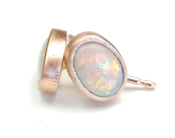 Opal Earrings, Opal Studs, Rose Gold Opal Earrings, Pink Gold Opal Earrings, Rose Gold Opal Studs, October Birthstone, NIXIN