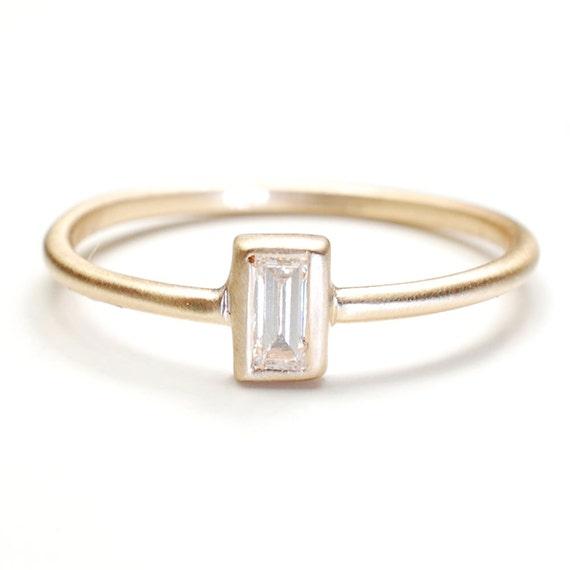 Diamond Ring, Baguette Diamond Ring, Engagement Ring, Diamond Engagement Ring, Gold, Nixin