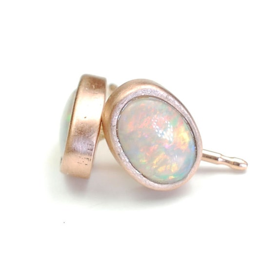 Gold opal earrings rose gold opal studs october birthstone nixin
