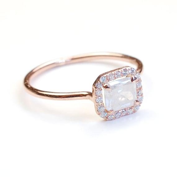 Diamond Engagement Ring, Pave Diamond Ring, Engagement Ring, Radiant Cut Diamond, Opaque Diamond Ring, Natural Diamond, OOAK, Nixin
