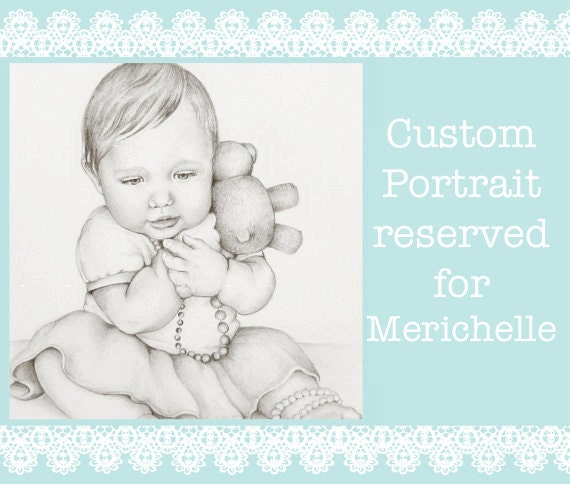 RESERVED FOR MERICHELLE Custom Portrait Drawing, 8x10 Portrait of One Child, Affordable Pencil Commission Portrait