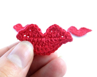 Red lips applique - crochet lips embellishments - Valentines day embellishments - Wedding decorations - hot lips applique - set of 3