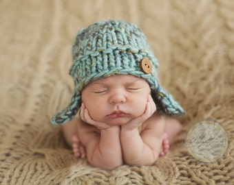 Wool Knit Earflap Hat for Baby Boy, Beautiful Photography Prop