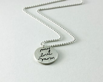 Memorial Jewelry Small Silver Your Loved Ones Actual Handwriting