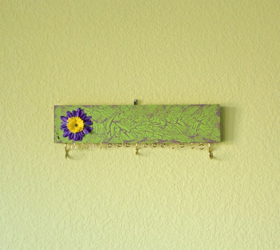 Jewelry holder - Green and Purple - repurposed from scrap wood