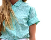 60s Checkered Mint Button Up Cropped Top xs s